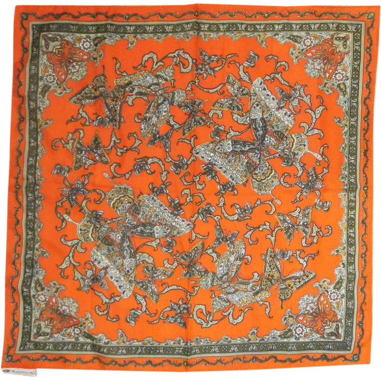 Nasharr Freres Orange Butterfly Scarf