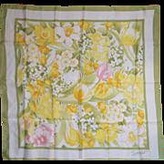 Avon Spring Floral Acetate Scarf SW Kent Green Yellow Pink