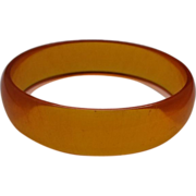 Orange Lucite Bangle Bracelet Translucent