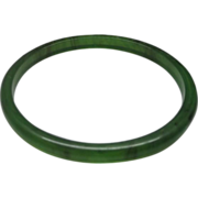 Green Translucent Lucite Spacer Bangle Dark Streaks