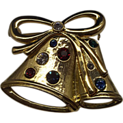 Gold Tone Double Bell Rhinestone Pin