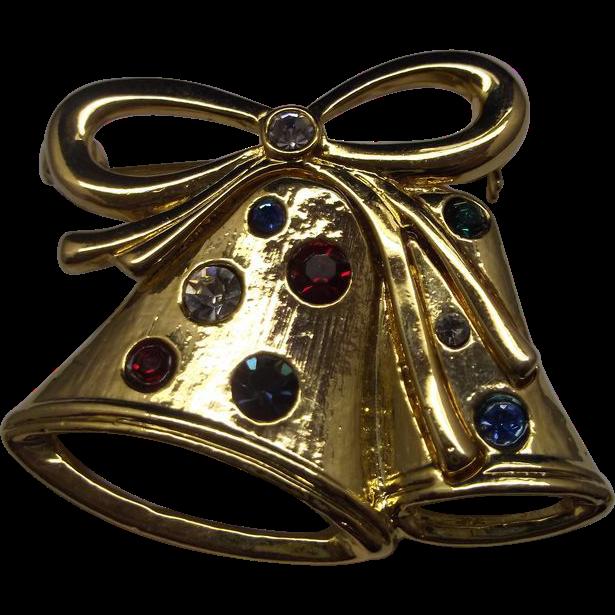 Gold Tone Double Bell Rhinestone Pin