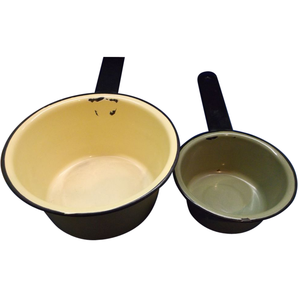 Yellow Green Enamel Sauce Pan Pair Small
