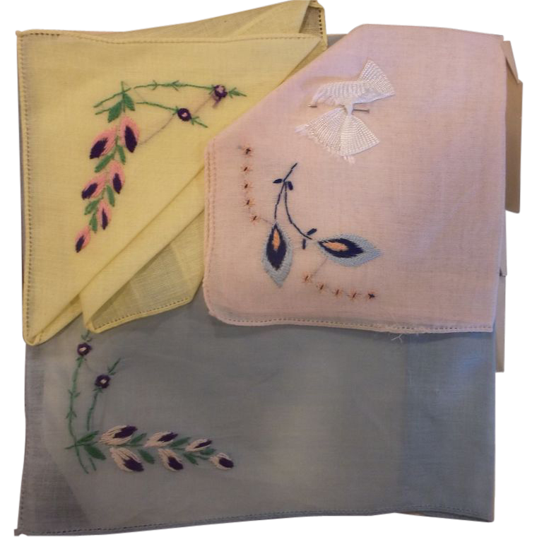 Orlana Swiss Style Kerchiefs Handkerchiefs Embroidered New Old Stock Yellow Pink Blue