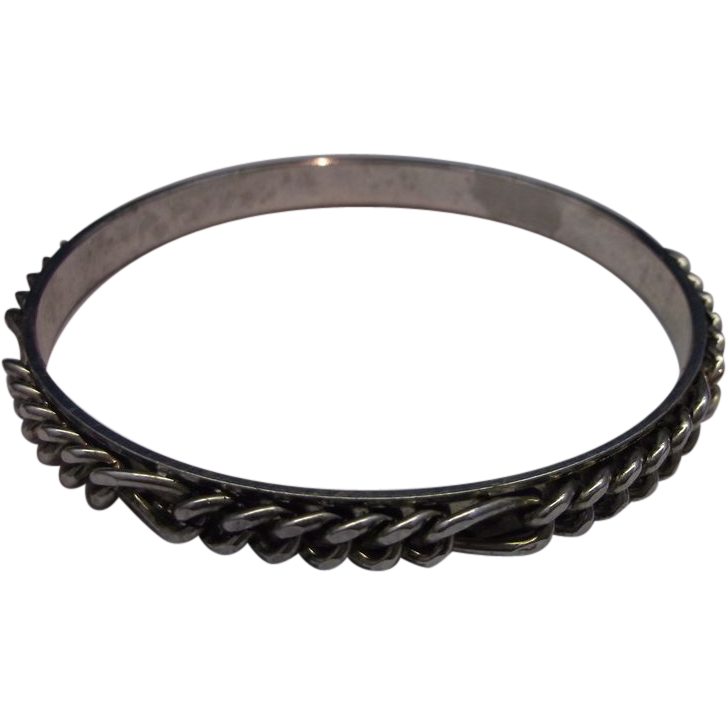 Silver Plated Chain Mounted Bangle Bracelet