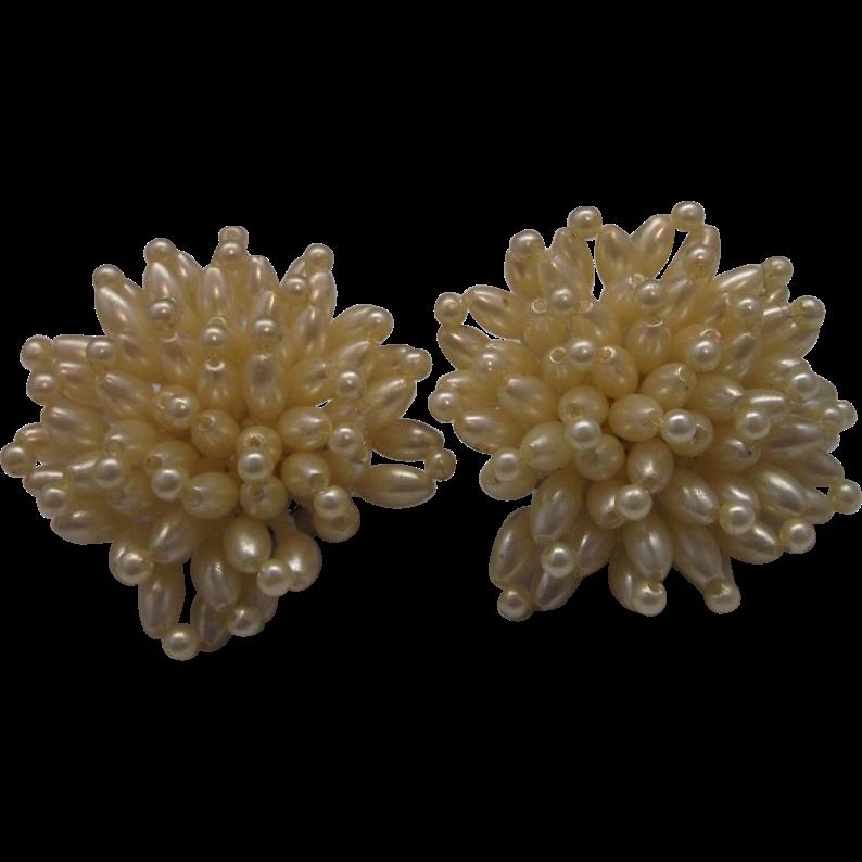 Faux Pearl Cluster Earrings Clips