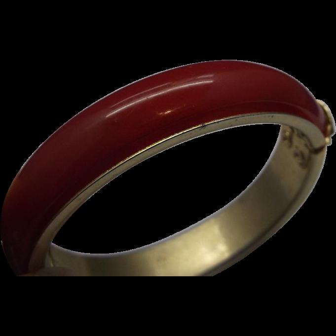 Red Domed Lucite Brass Clamper Bracelet Bangle