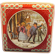 Daher Red Winter Christmas Tin Metallic Crackle Finish