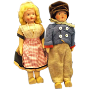 Dutch Boy Girl Composition Dolls Original Clothes Wooden Shoes