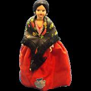 Venezia Venice Souvenir Doll Red Dress Flower Shawl Black Hair