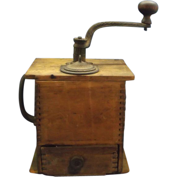 Cast iron wood coffee grinder early 1900s from rubylane for Cast iron coffee