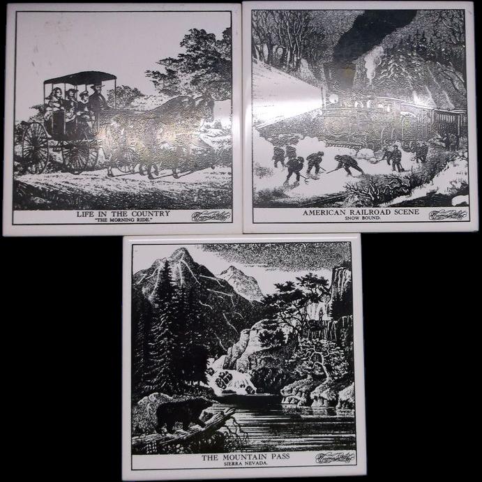 Currier & Ives Black White Tile Trivets Set of three