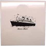 Queen Mary Ocean Liner Tile Trivet Black White