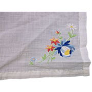 Blue Flower Embroidered Ladies' Handkerchief White Cotton Swiss Style