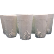 Indiana Glass Harvest Grape Milk Glass 10 oz Small Tumblers Set of 7