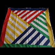 "Acute Primary Colors Diagonal Stripe Square Silk Scarf 30"" Square"