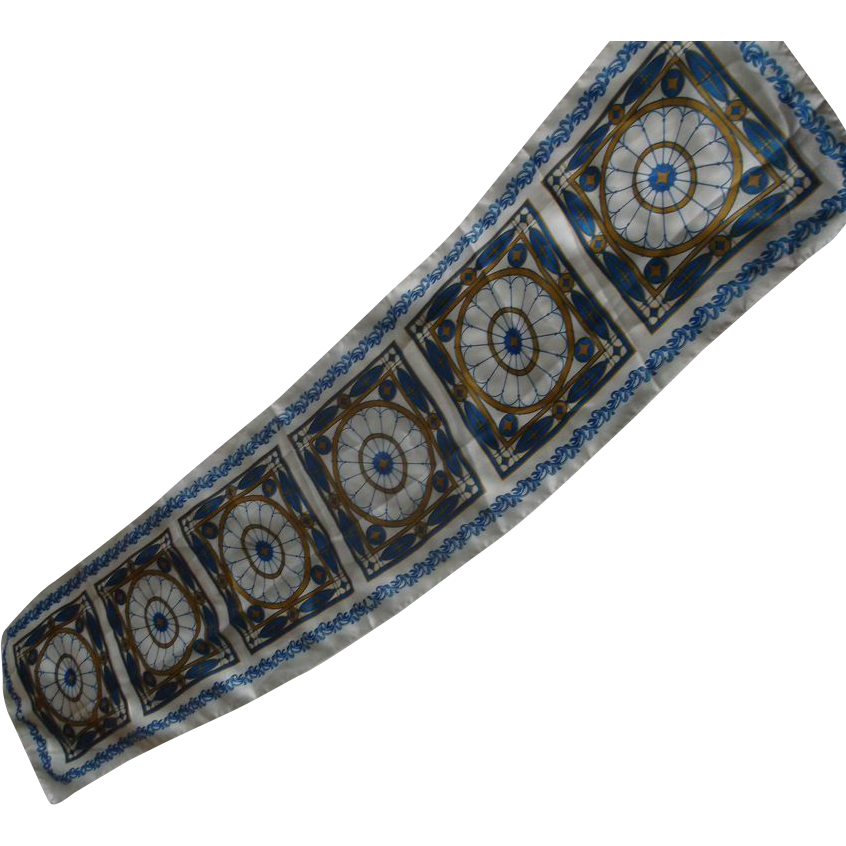 White Blue Gold Oblong Satin Scarf Stained Glass Window Pattern