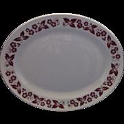 Homer Laughlin Red Flowers & Leaves Rim Oval Platter