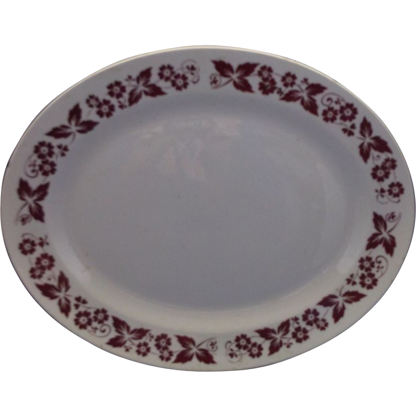 Homer Laughlin Red Flowers & Leaves Rim Oval Platter
