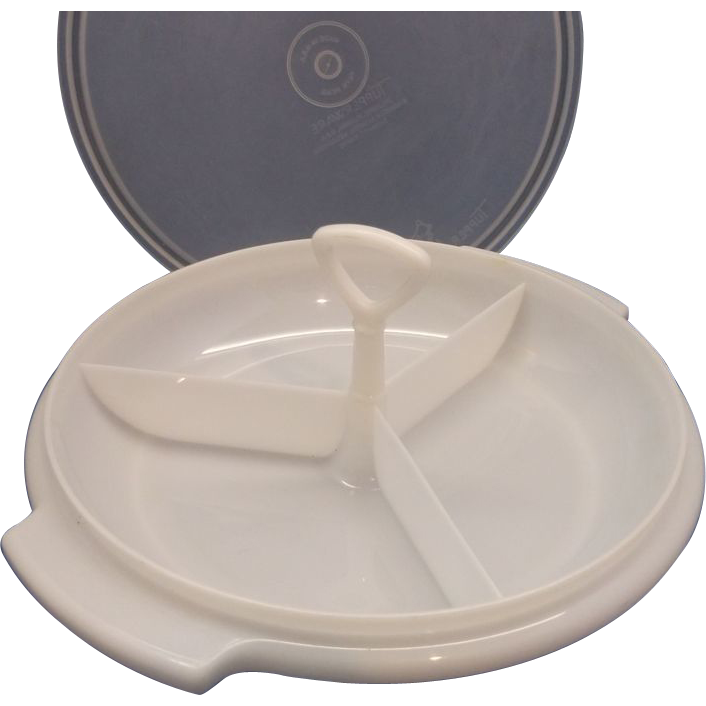 Tupperware Sheer White Suzette Divided Relish Tidbit