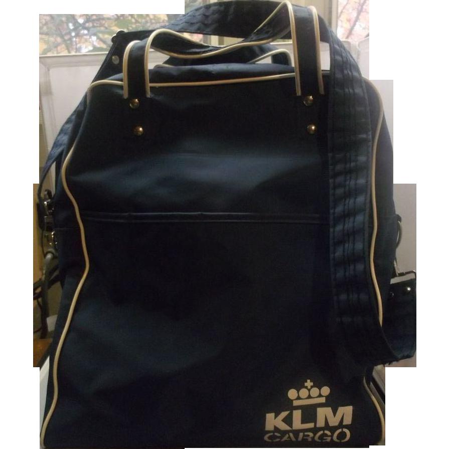 KLM Cargo Airline Carry On Shoulder Tote Bag Blue White