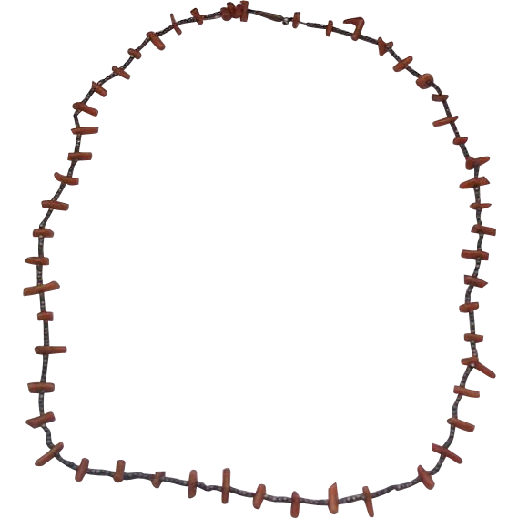 Victorian Branch Coral Cut Steel Bead Necklace Pin Barrel Clasp