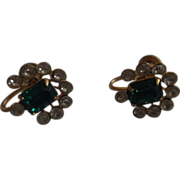 Vargas Emerald Green Clear Rhinestone Gold Plated Earrings Screwbacks