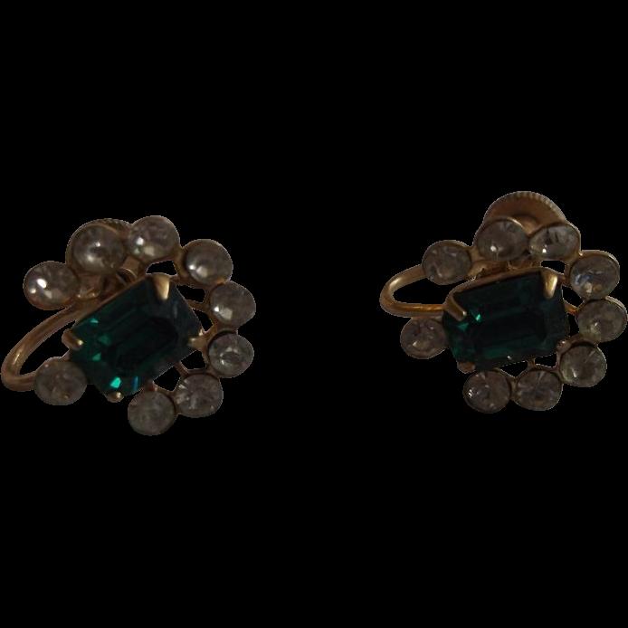 Vargas Emerald Green Clear Rhinestone Gold Plated Earrings Screwbacks