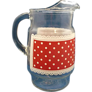 Red White Dot Decorated Clear Pitcher - Red Tag Sale Item