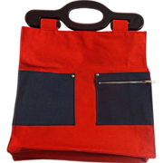 Red Tote Bag Shopper Denim Pockets Holiday Fair Taiwan 1978 Lucite Handles