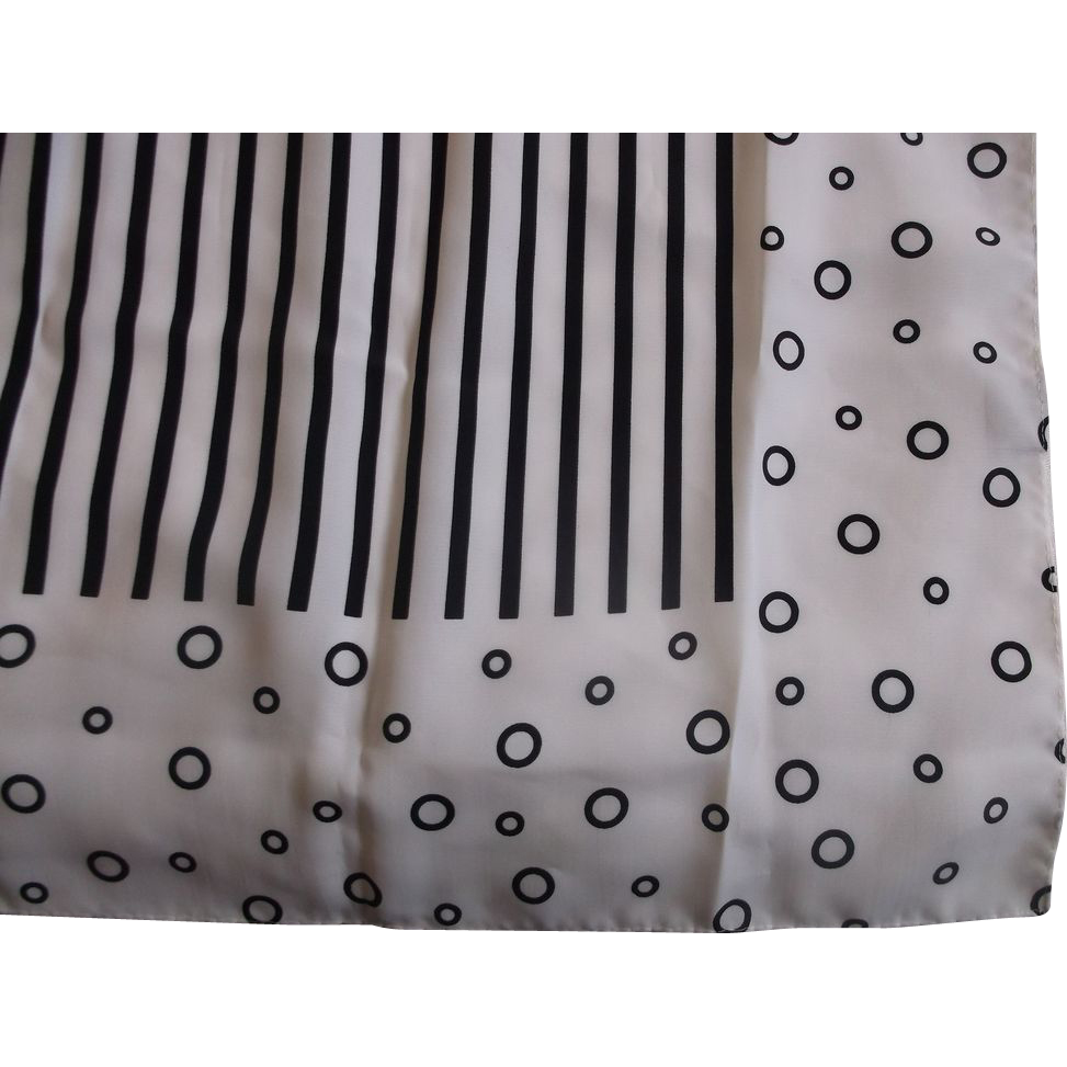 Black White Stripe Circle Huge Scarf Polyester Korea