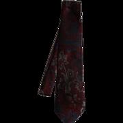 Oscar De La Renta Burgundy Floral Scrollwork Men's Tie