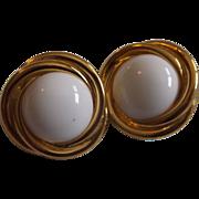 Crown Trifari White Lucite Circle Earrings Gold Tone Rope Border
