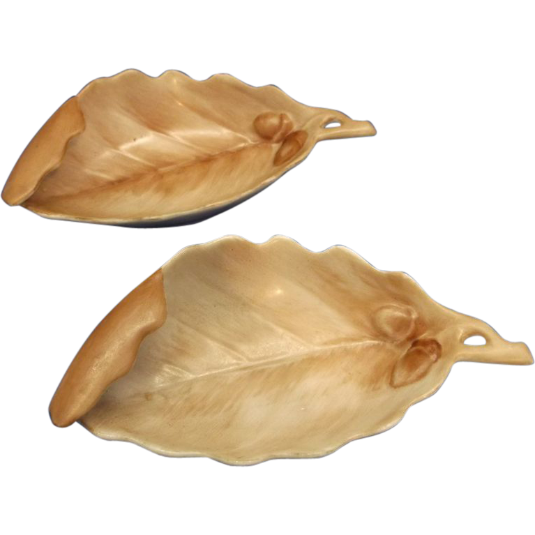 Hand Painted Brown Leaf Dishes Oyster Single Shooters