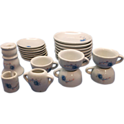 Chilton Toys Porcelain Tea Set Blue Roses 22 Pcs Incomplete