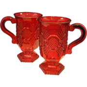 Avon Cape Cod Pedestal Footed Mugs Pair Sprayed Red