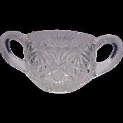 American Brilliant Period Cut Glass Sugar Bowl Zippers Stars Cane