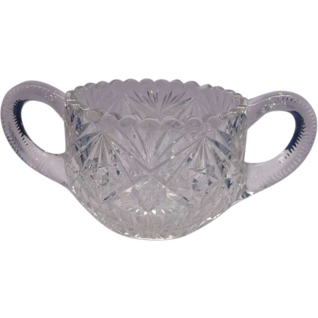 American Brilliant Period Cut Glass Sugar Bowl Zippers Stars Cane