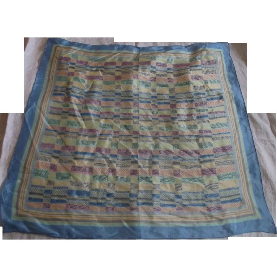 Rain Totes Pastel Silk Scarf Geometric Pattern Blue Yellow Pink Green