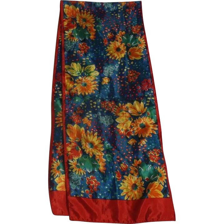 Bright Floral Taffeta Long Scarf Red Yellow Blue