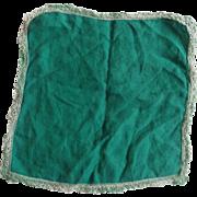 Green Cotton Handkerchief Tatted Lade Edge Hem
