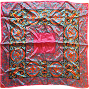 Vivid Fuchsia Black Royal Blue Red Paisley Print Silk Scarf