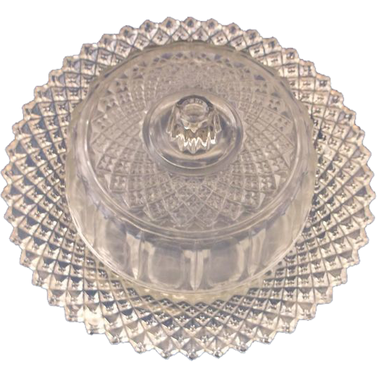 English Hobnail Crystal Small Covered Butter Cheese Dish