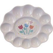 Treasure Craft Oval Tulips Egg Plate