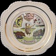 Wisonsin Souvenir Plate Harker Gadroon Square