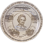 Mark Twain Brown Transferware Vernon Kilns Souvenir Plate