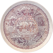 Arizona The Copper State Red Transferware Souvenir Plate