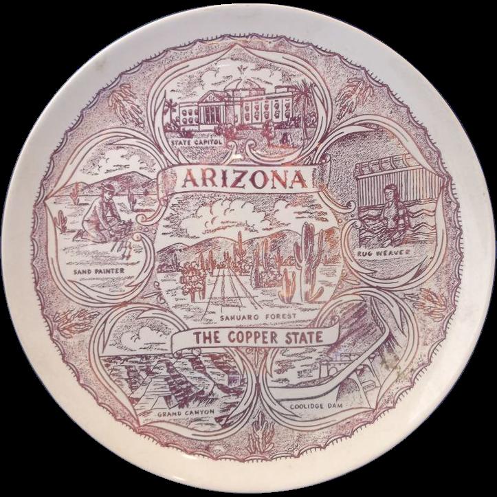 Arizona The Copper State Red Transferware Souvenir Plate