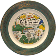 California The Golden State Souvenir Plate Homer Laughlin Green Gold Rim Pre Disney