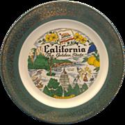 California The Golden State Souvenir Plate Homer Laughlin Green Gold Rim Pre Disney